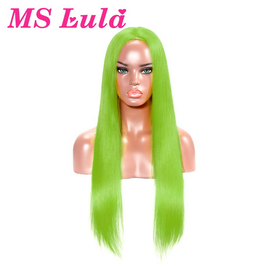 MS Lula Colored Human Hair Wigs Red Yellow Misty Rose Green Orange Blue Pink Remy Hair