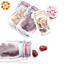 5 adet/grup uygun PE Mason şişe çanta fındık çerezleri şeker aperatifler mühürlü plastik torba ev dekorasyon depolama malzemeleri