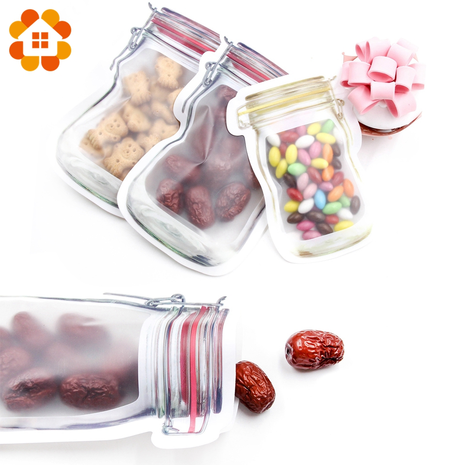 5pcs/lot Convenient PE Mason Bottles Bags Nuts Cookies Candy Snacks Sealed Plastic Bag Home Decoration Storage Supplies