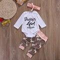 Padre de La Niña de Navidad de Conjunto de Una Sola Pieza Del Mameluco Recién Nacido de La Muchacha Infantil Del Bebé Del Mameluco de Los Pantalones Trajes Traje Conjunto + diadema
