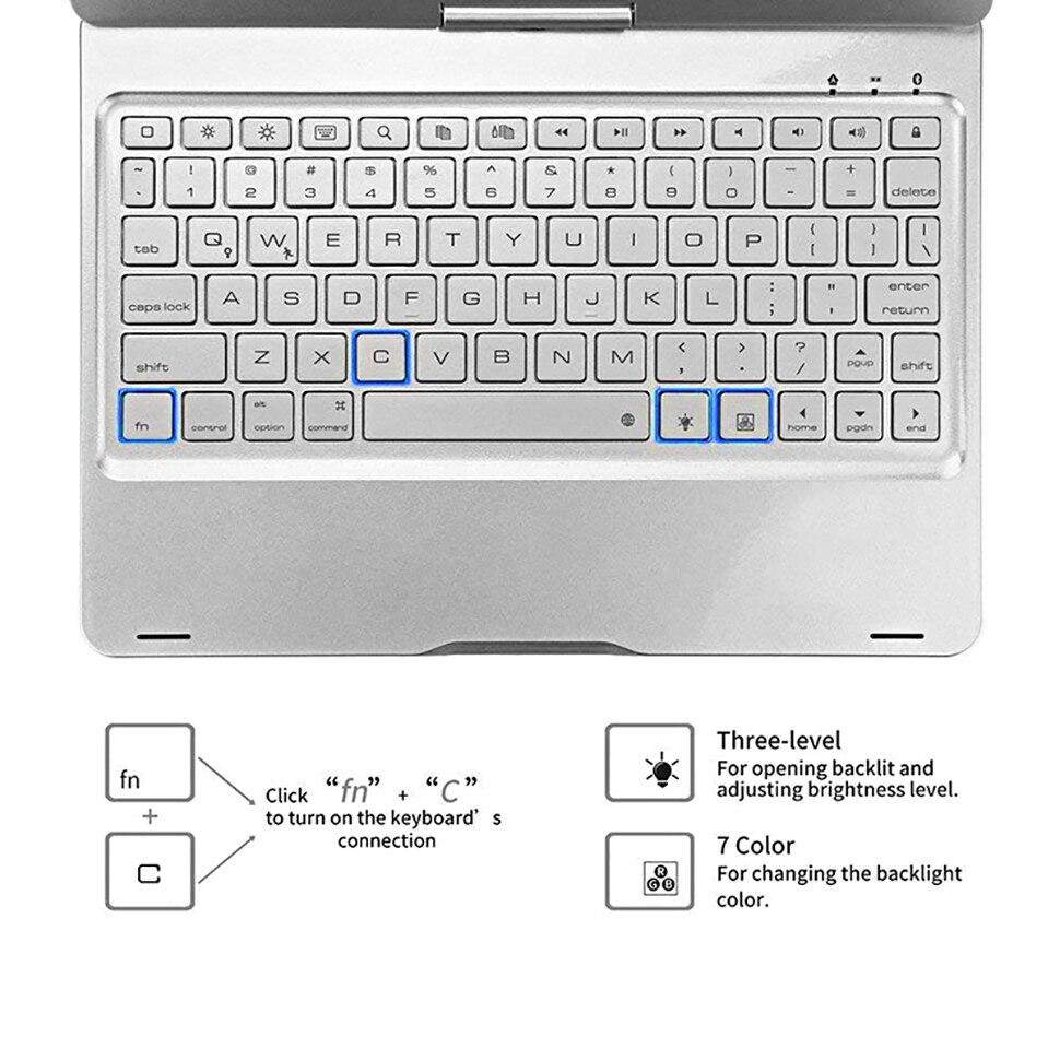 Funda pour iPad 9.7 2018 2017 étui avec clavier 7 couleurs rétro-éclairé 360 Rotation sans fil Bluetooth clavier couverture pour iPad 5th 6th - 6