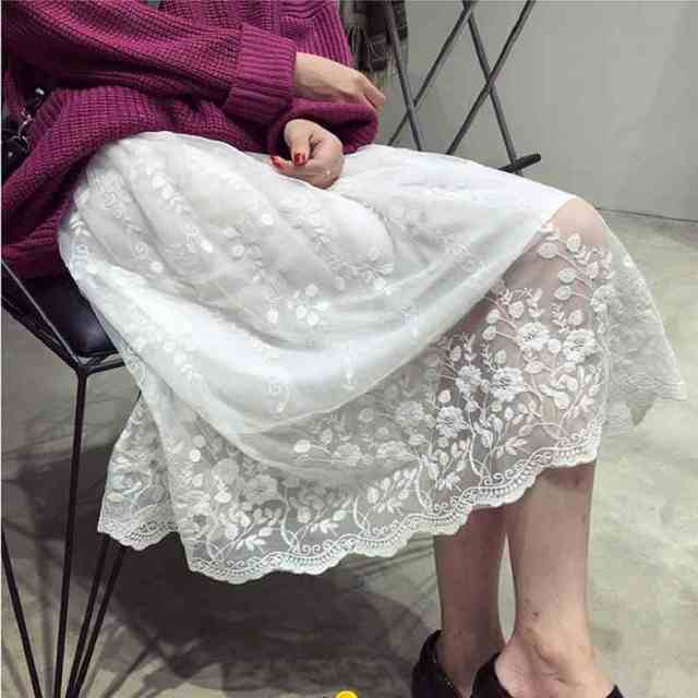 Autumen and winter loose female full slip lace floral embroidery patchwork medium long tank top vest long underskirt