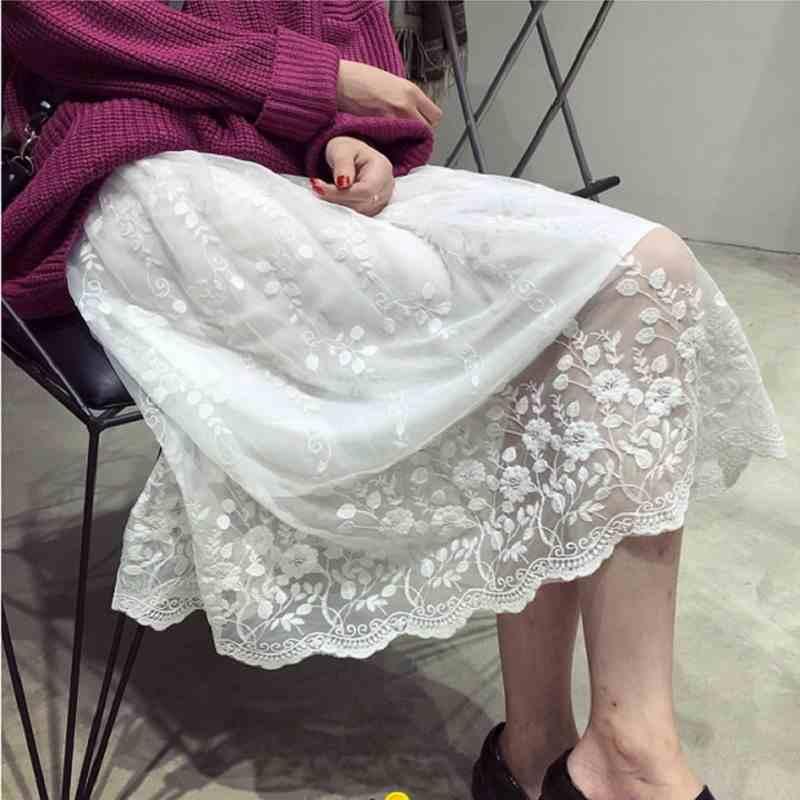 Voll slip kleid weibliche Autumen und winter lose spitze floral stickerei patchwork top weste lange petticoat unterrock