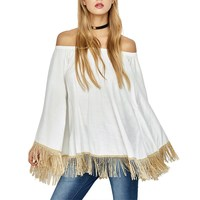 2017 Summer Women White Blouses Ladies Loose Off Shoulder Shirts Casual Strapless Tops Flare Sleeve Tassel