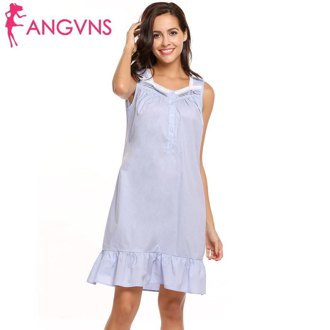 42f3841b29bc ANGVNS Square Style Women Victorian Lace Ruffle Hem Sleeveless Sleepware  Dress Button Collar Women Sexy love