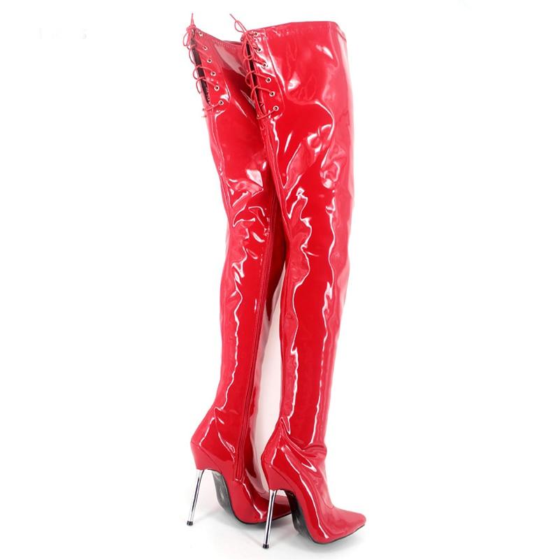 Negro Cuero Patente A Purple Mujer Reina La Botas Del Sexy Rodilla Muslo rosado Zapatos rojo matte De Punta Alta Cm Con Metal 12 wxqzAUFS