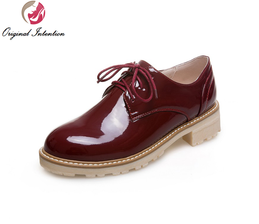 ФОТО Original Intention New High-quality Women Casual Shoes Round Toe Elegant Black White Beige Wine Red Shoes Woman US Size 4-10.5