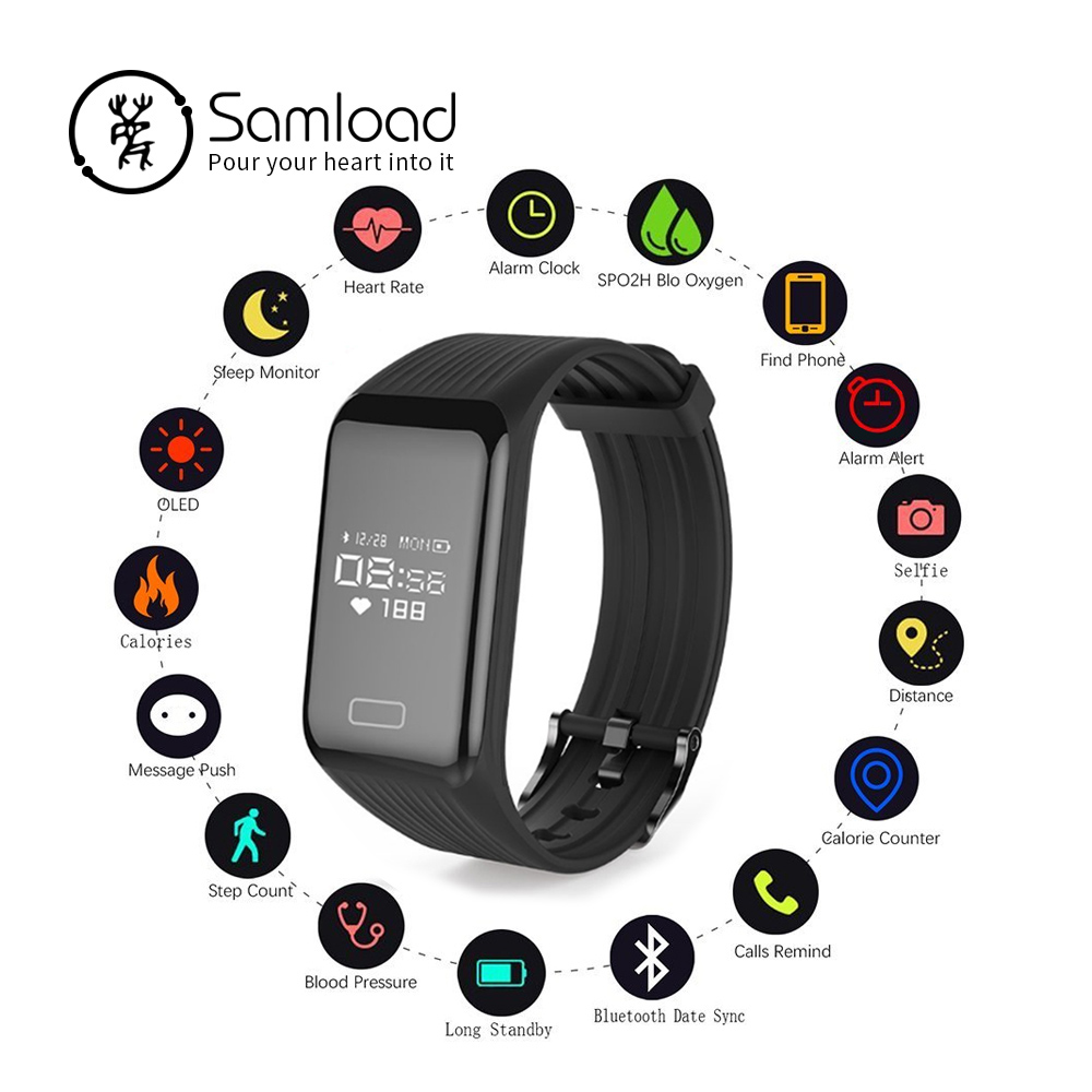 Samload Wireless Smart Bracelet Fitness Tracker Wristband Waterproof Continuous Heart Rate Sleep Step For iPhone7 8 Xiaomi Sony
