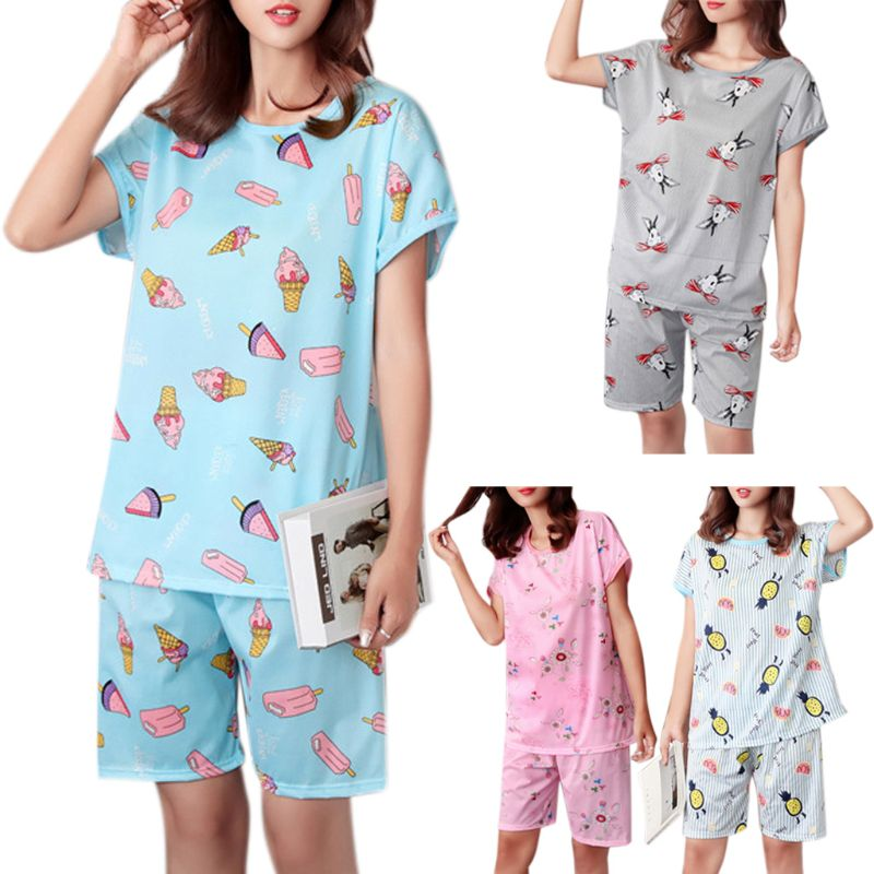 Women Summer Milk Fiber Two Piece   Pajamas     Set   Short Sleeve Round Neck Pullover Tops Cartoon Ice Cream Rabbit Sleepwear N7_B