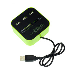 50pcs USB 2.0 hub All In One 3 ports Combo with Multi-card Reader for SD/MMC/M2/MS/MP Pro Duo Memory Card Laptop PC E18