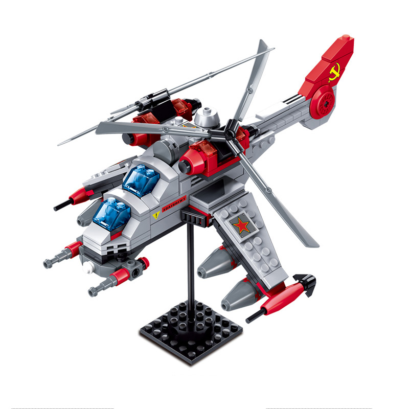все цены на KAZI Double Blade Army Helicopter Red Alert 3 Action Model Building Blocks Bricks Kits 2017 Kids Gifts Toys For Children онлайн