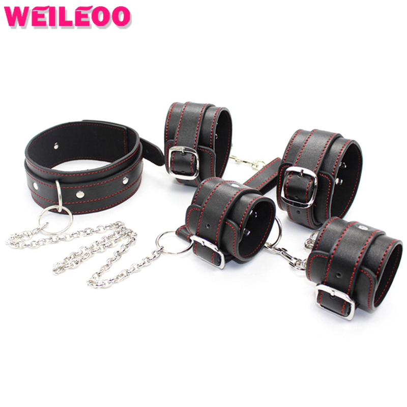 4 pcs soft leather handcuffs restraint hand cuff for sex bdsm collar fetish adult game bdsm bondage erotic sex toy for couple sex furniture product bondage kit fetish restraint kit adult games eye mask erotic adult sex toy for men handcuffs bdsm bondage