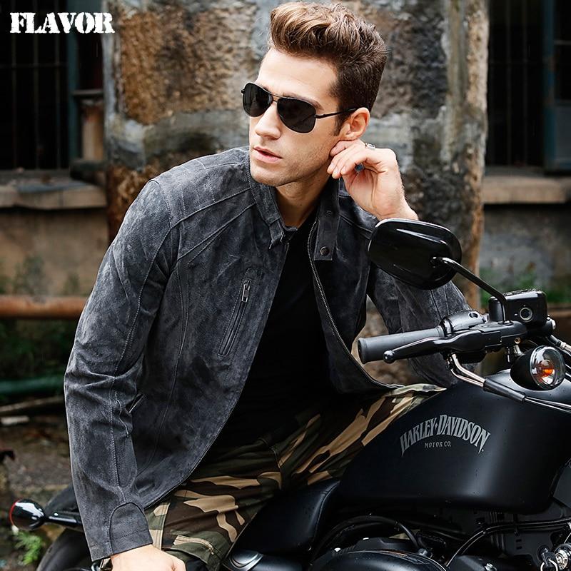 Men's Pigskin Gray Real Leather Jacket Genuine Leather Motorcycle Jackets Men Winter Coat