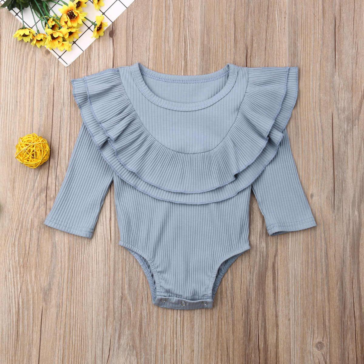 2019 ฤดูใบไม้ผลิฤดูใบไม้ร่วงเสื้อผ้าเด็กแรกเกิดเด็ก Ribbed Bodysuit แขนยาว Jumpsuit ชุดเสื้อผ้า Playsuit 0-24 M