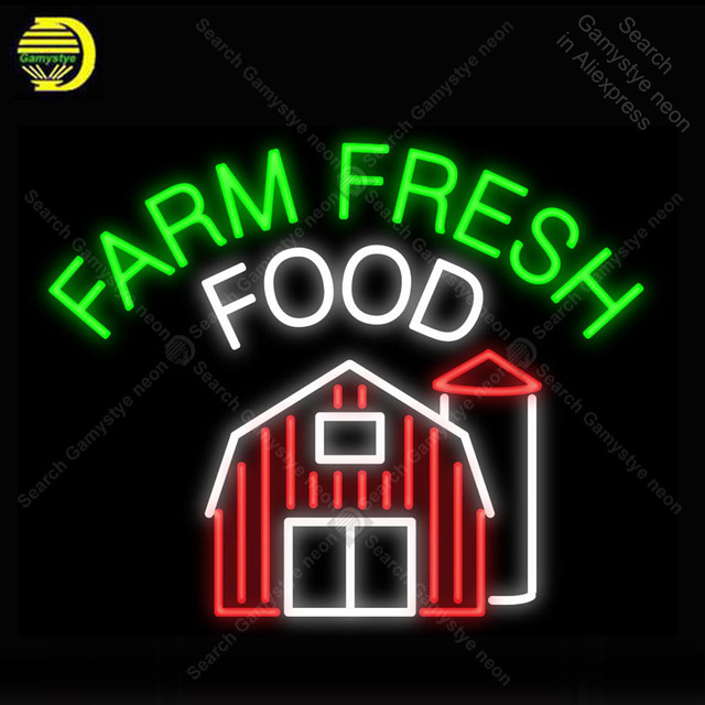 Farm Fresh Food NEON LIGHT SIGN Neon Sign Decorate Restaurant Hotel BEER PUB Pub Handcraft Iconic Sign custom made neon lights