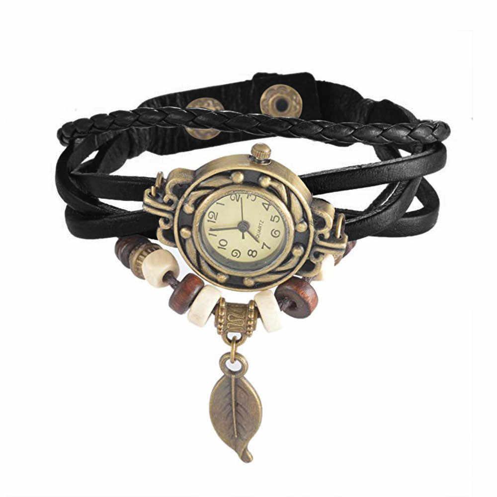 Abrigo de tejido Retro marrón con cuentas para mujer pulsera colgante Brazalete reloj de pulsera de cuarzo Reloj de pared diseño moderno pegatina montre homme 50