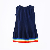 2017 Casual Girl Dresses Knitted Sleeveless Kids Clothes Sweet Rainbow Baby Dress Children Clothing
