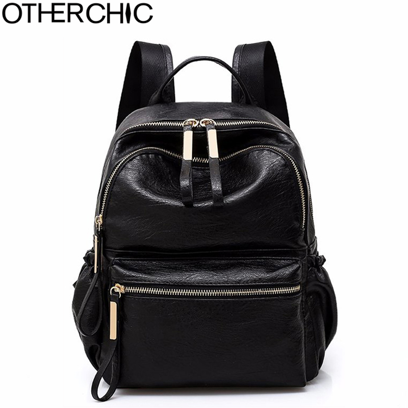 OTHERCHIC Fashion Women Backpacks PU Leather Black Backpack Women For Teenage Girls Sac A Dos Femme Female Knapsack 8N03-16