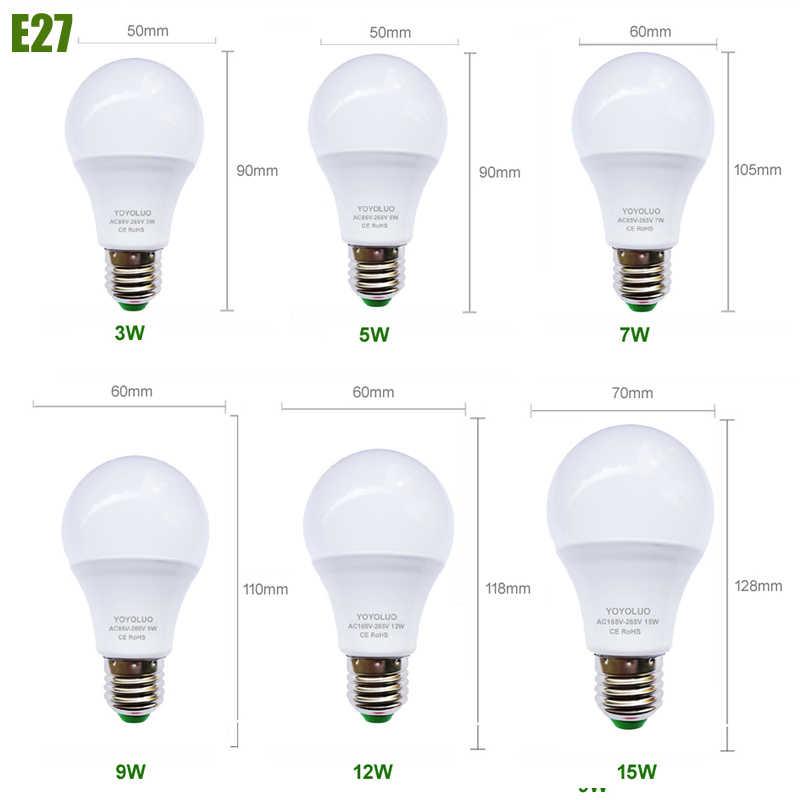 Ampoule de LED de puissance réelle E27 lampe à LED Ampoule ada Bombilla 3 W 5 W 7 W 9 W 12 W 15 W B22 lampe à LED E14 AC220V projecteur de LED blanc froid/chaud