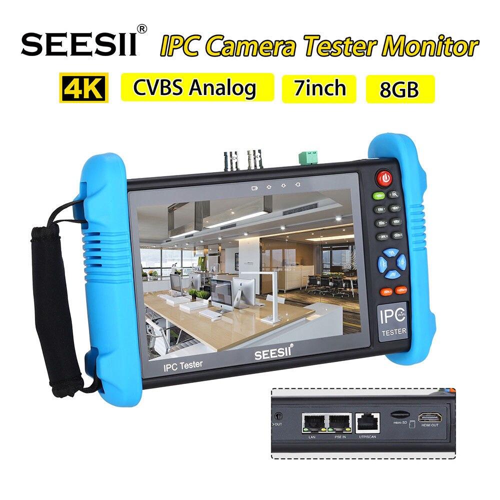 SEESII 9800 más 7 pulgadas 1280*800 IP Cámara probador 4 K 1080 p IPC CCTV Monitor Video Audio POE prueba pantalla táctil HDMl descubrimiento 8 GB