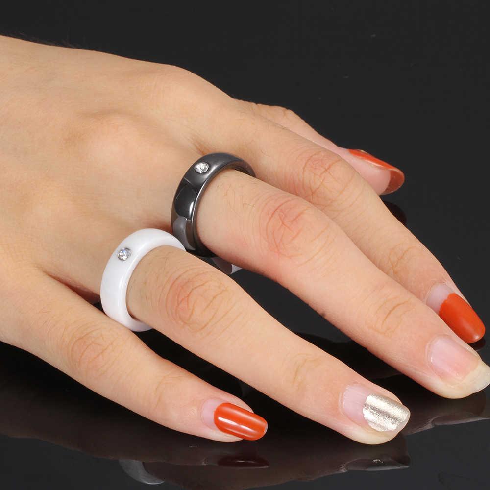 Baru Hitam Putih Warna-warni Cincin Keramik Cincin untuk Wanita dengan Kristal Besar Pernikahan Lebar 6 Mm Ukuran 6-10 Hadiah untuk Pria