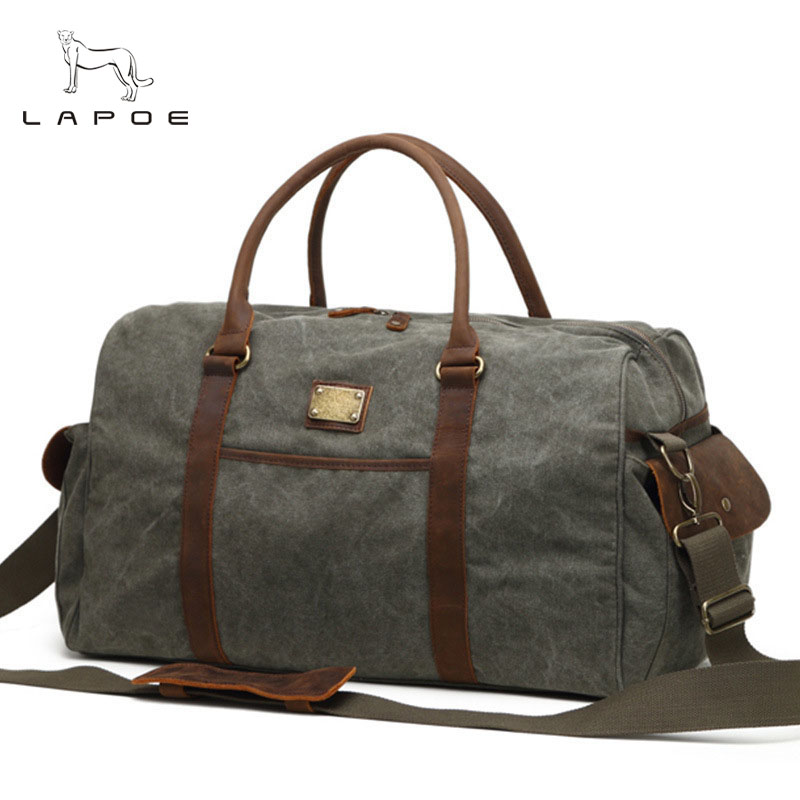 LAPOE Men Travel Bags Large Capacity Women Luggage Travel Duffle Bags Canvas Big Travel Handbag Folding Trip Bag pro biker motorcycle saddle bag pattern luggage large capacity off road motorbike racing tool tail bags trip travel luggage