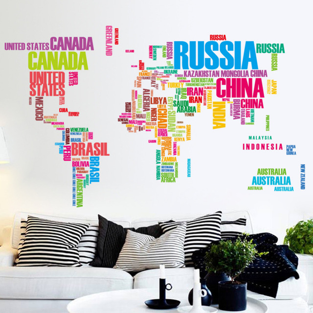 Top grand new home decoration wall stickers poster letter world map top grand new home decoration wall stickers poster letter world map quote high quality removable stickers gumiabroncs Choice Image