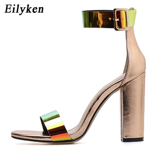 Image 3 - Eilyken Fashion Patent Leather Women Buckle Strap Sandals For Summer High Heels Peep Toe Shoes Ladies chunky heels 10.5CM Shoes