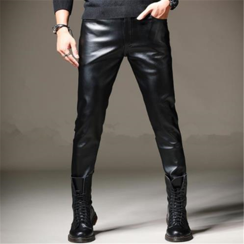 Men Spring Pantalones Warm Pu Pantalons Plus Size Pu Pencil Pants Male Oversized Plus Velvet Thick Leather Trousers Stretch Pant