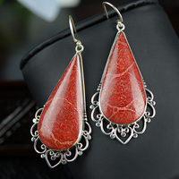 Jewelry 925 Silver Natural Gemstone Coral Classic Big Earrings For Women Christmas Jewelry Joyeria
