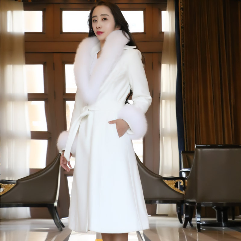 Winter thickening warm woolen for women new fox fur collared woolen women coat double side long cashmere coat long sleeve NZ017