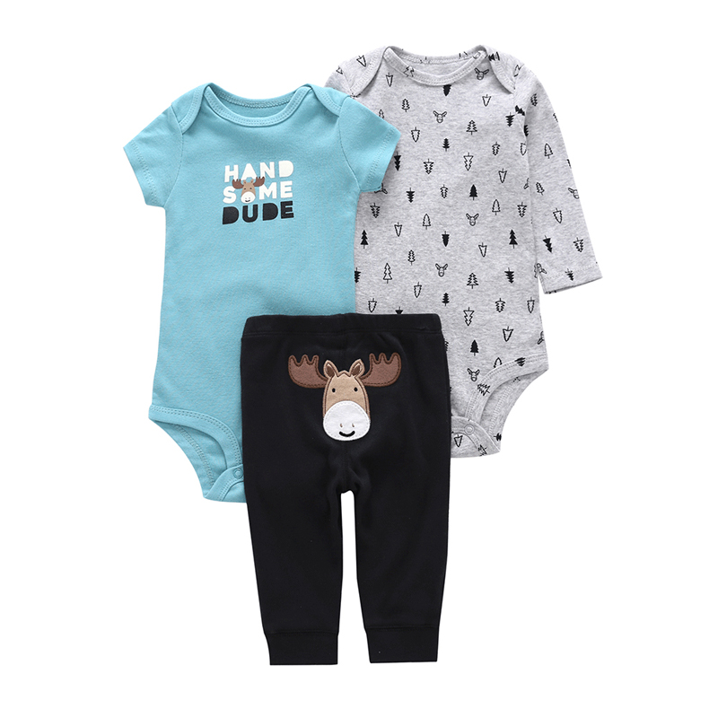 handsome baby boy outfit newborn infant baby girl clothes cotton romper+bodysuit+pants cartoon deer fashion 3PCS clothing set