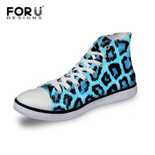 FORUDESIGNS Casual Women's Canvas Shoes High Top Lace-up Vulcanized Shoes Fashion Leopard Printed Flat Shoes For Ladies Girls