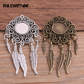 12mm 2pcs Alloy Two Color Vintage Tree Leaf Feather Wings Fame Style Round Cabochon Necklace Pendant For Diy Make vintage feather necklace