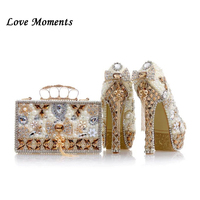Love Moments Beige Pearl Wedding shoes with matching bags 14cm high heels Platform shoes woman Party Dress shoe and bag set