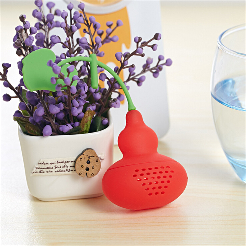 New Creative Silicone Calabash Tea Infuser Diffuser Loose Tea Leaf Chain Strainer Herbal Spice Filter H-315
