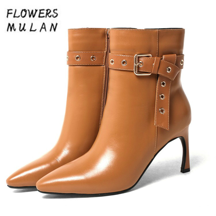 Name Designers Women Strange Heel Ankle Boots Pointed Toe Side Zip Botas Metal Buckle Knot Lady Nude Shoes Martin Boots Woman