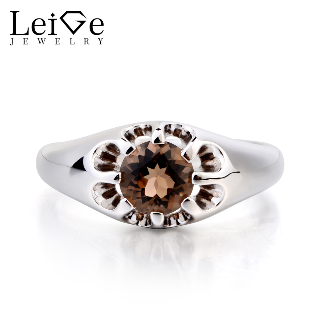 Leige Jewelry Cocktail Party Ring Natural Smoky Quartz Ring Round Cut Brown Gemstone Solitaire Ring 925 Sterling Silver for Her цена