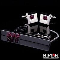 KFLK abotoaduras gravata clipe para o laço de Alta Qualidade tie pin para os homens barras de laço de Cristal Roxo abotoaduras gravata conjunto clipe Livre grátis