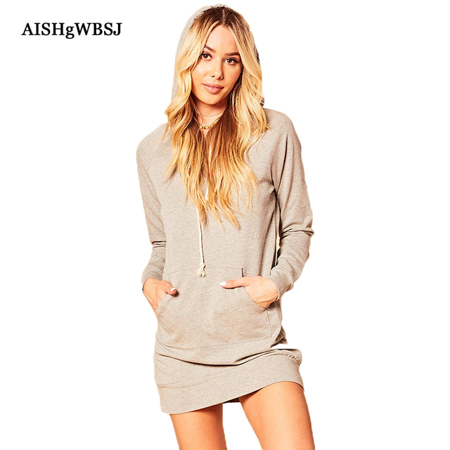 AISHGWBSJ Women Causal Dresses Loose Hooded Shirt Dress Female 2018 New  Spring Long Sleeve Vestidos Black Gray Mini Dress PL274 14b7181c21