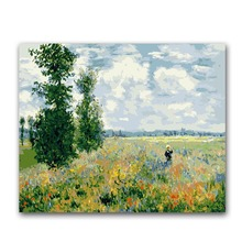 Poppies field Monet painting by numbers handmade coloring drawing pictures canvas paintings  on with colours