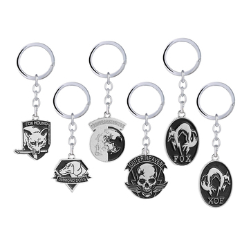 Metal Gear Solid Keychain Outer Heaven Keychain Fox Hound From ZanzibarLand Iron Patches XOF Key Holder Men MGS Jewelry llavero image