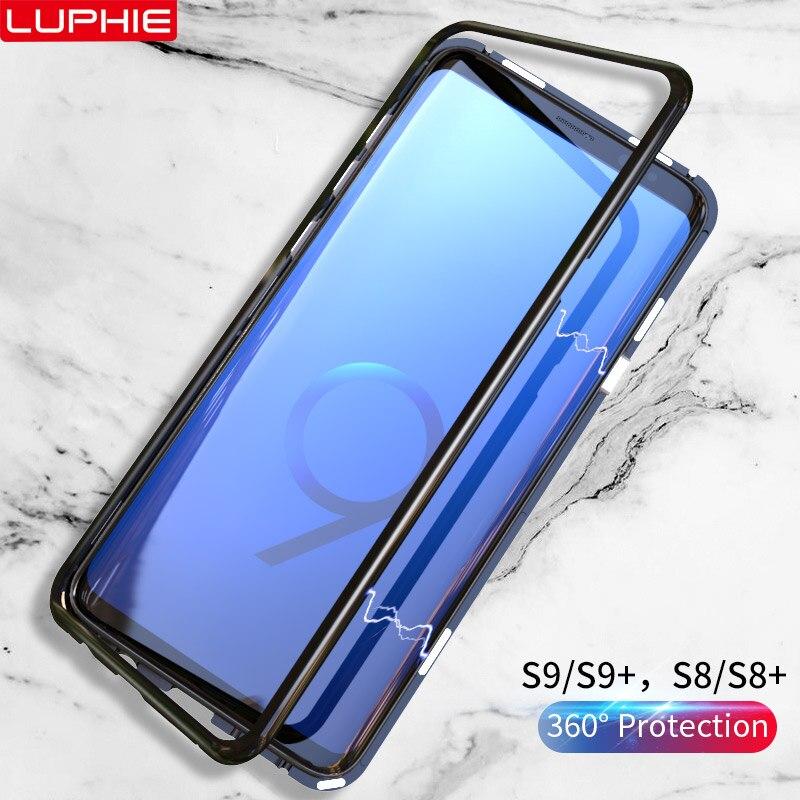 Adsorbimento magnetico di Caso di Vibrazione per Samsung Galaxy S9 Temperato Vetro Della Copertura Posteriore di Lusso del Metallo Imbottiture e Paraurti per la Galassia S8 Più Duro caso