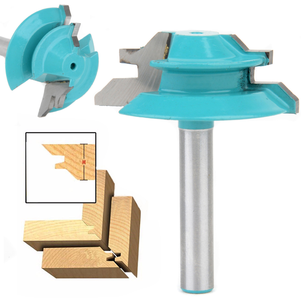 цена на 45 Degree Lock Miter Router Bit 1-1/2 Diameter 1/4 Shank Wood Cutter For Wood Working Drilling
