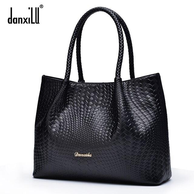 Danxilu Famous brand Genuine Leather Handbags Ladies Casual Shoulder Bags tote Women shoulder bag bolsa feminina