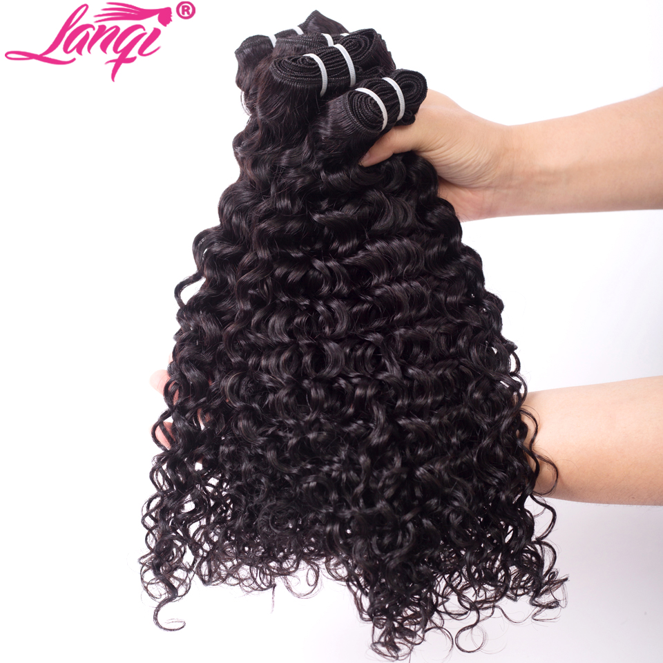 Image 4 - lanqi Peruvian hair bundles with closure nonremy human hair weave bundles with closure Brazilian water wave bundles with closure-in 3/4 Bundles with Closure from Hair Extensions & Wigs