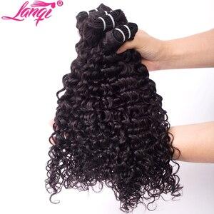 Image 2 - lanqi Peruvian hair bundles with closure nonremy human hair weave bundles with closure Brazilian water wave bundles with closure