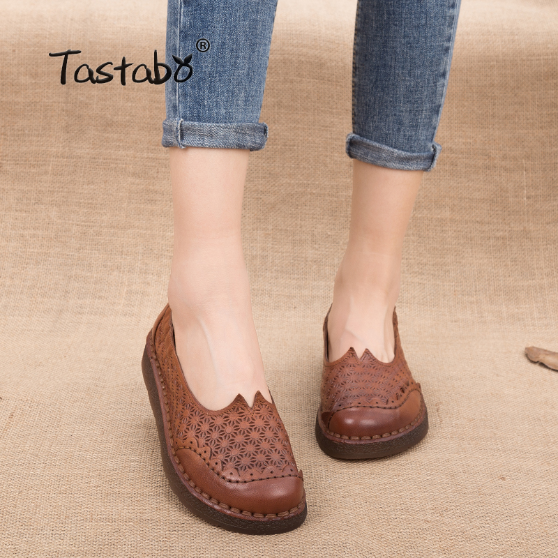 c0a4080088 Tastabo Autumn Floral Pleated Shoes Female Genuine Leather Flats Non-slip  Durable Women Shoes Slip-on Nurse Peas Loafer Flats