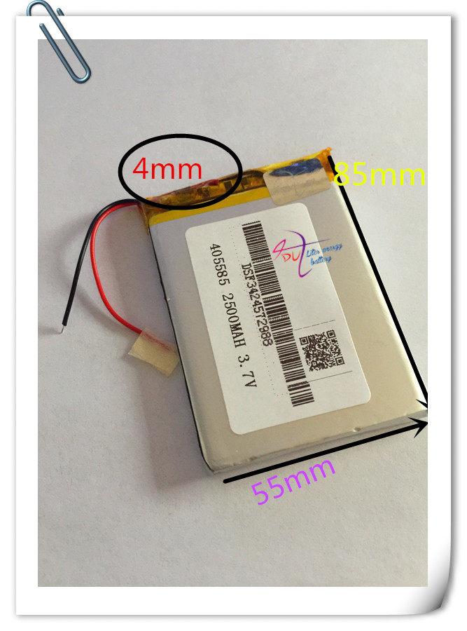 Wholesale 10pcs/Lot 405585 Lithium Polymer Battery 3.7V 2500mAh Li ion Rechargeable Accumulator For Mobile Power Bank DIY E-book in 2500mah with protection board 554858 12v lithium polymer battery monitor 11 1v 605060 rechargeable li ion cell