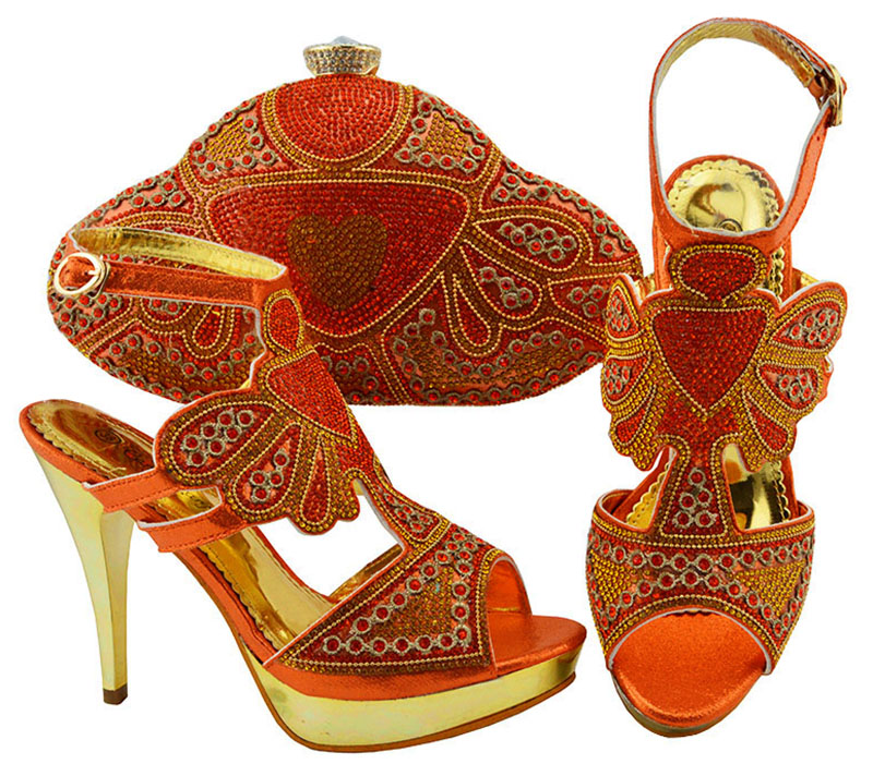 Luxury Orange Thin High Heel Shoes And Purse Bag Set Nice Matching For Wedding/party Dress JZC004 Heel Height 11.5cm